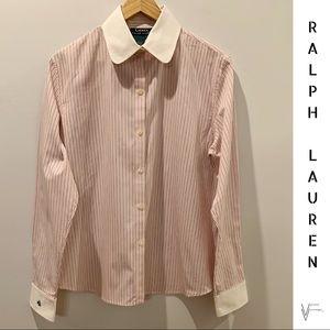 NWOT Ralph Lauren Pin Striped Monogrammed Shirt